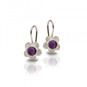 Silver Shasta Daisy Amethyst Earrings by Scarab Jewellery Studio - February Birthstone Jewellery