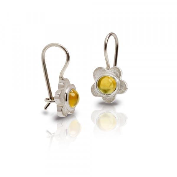 Silver Shasta Daisy Citrine Earrings by Scarab Jewellery Studio