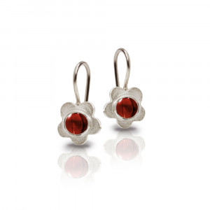 Silver Shasta Daisy Garnet Earrings by Scarab Jewellery Studio