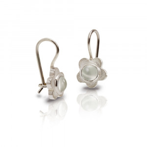 Silver Shasta Daisy Moonstone Earrings by Scarab Jewellery Studio