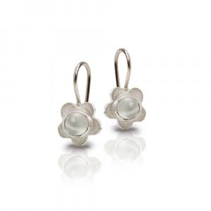 Silver Shasta Daisy Moonstone Earrings by Scarab Jewellery Studio