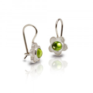 Silver Shasta Daisy Peridot Earrings by Scarab Jewellery Studio