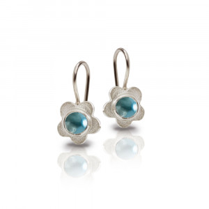 Silver Shasta Daisy Blue Topaz Earrings by Scarab Jewellery Studio