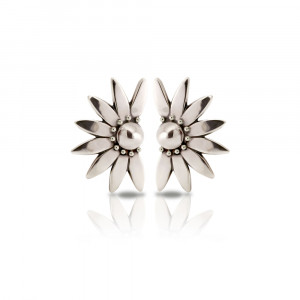 Silver Dandelion Stud Earrings by Scarab Jewellery Studio