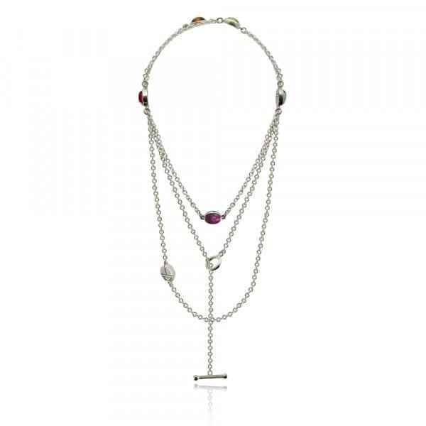 Silver Lariat Necklace MultiColoured Gemstones by Scarab Jewellery Studio