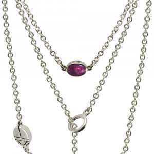 Silver Lariat Necklace MultiColoured Gemstones by Scarab Jewellery Studio