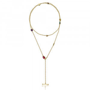 Gold Lariat Necklace MultiColoured Gemstones by Scarab Jewellery Studio