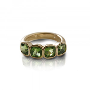 Four Stone Peridot Gold Ring by Scarab Jewellery Studio