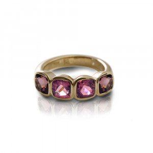 Four Stone Pink Tourmaline Gold Ring by Scarab Jewellery Studio