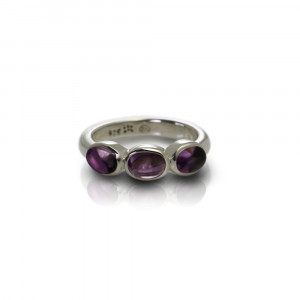 Silver Ring Three Amethyst Oval Cabouchons by Scarab Jewellery Studio