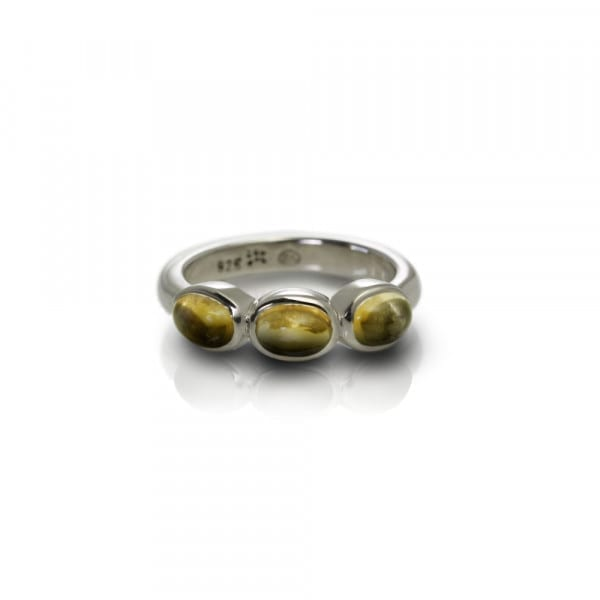 Silver Ring Three Citrine Oval Cabouchons by Scarab Jewellery Studio
