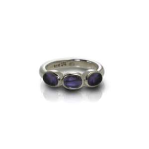 Silver Ring Three Iolite Oval Cabouchons by Scarab Jewellery Studio