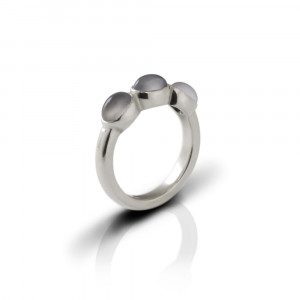 Silver Ring Three Moonstone Oval Cabouchons by Scarab Jewellery Studio