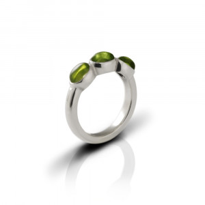 Silver Ring Three Peridot Oval Cabouchons by Scarab Jewellery Studio