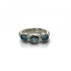 Silver Ring Three Blue Topaz Oval Cabouchons by Scarab Jewellery Studio