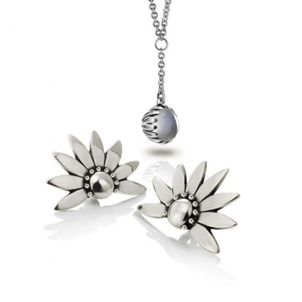 Silver Summer Bundle- Silver Daisy Moonstone drop pendant with Silver Dandelion Earrings