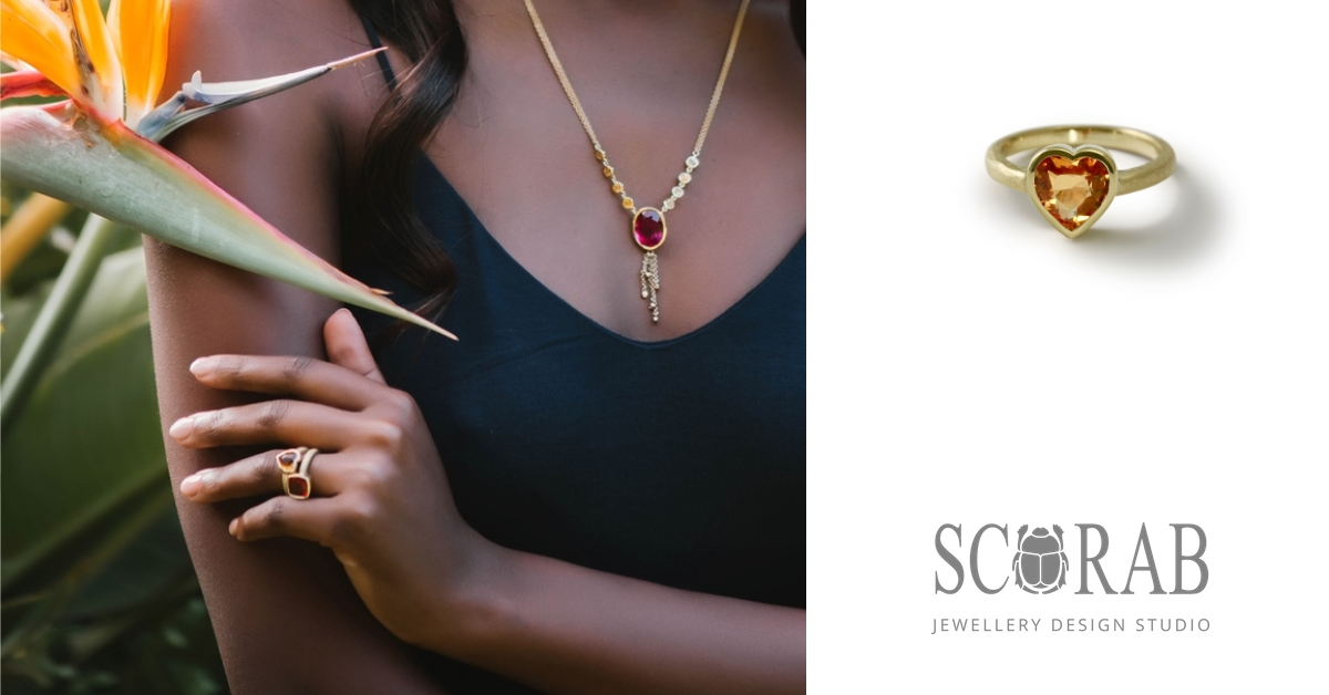 18 Carat Yellow Gold Citrine Heart Ring by Scarab Jewellery Cape Town