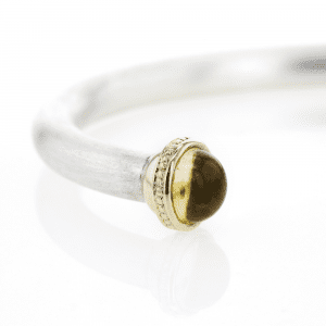 Silver Citrine Cabouchon Torque Bangle | Doric Detail by Scarab Jewellery Design