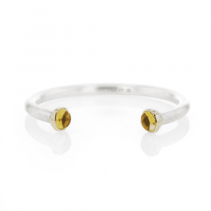 Silver Citrine Torque Bangle | Ionic Detail by Scarab Jewellery Design
