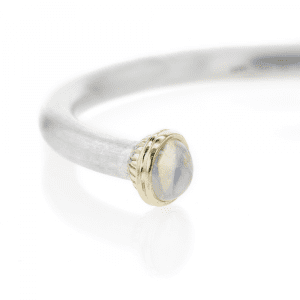 Silver Moonstone Torque Bangle | Ionic Detail by Scarab Jewellery Studio