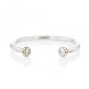 Silver Moonstone Torque Bangle | Ionic Detail by Scarab Jewellery Studio