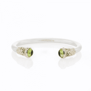 Silver Peridot Torque Bangle | Leaf Detail by Scarab Jewellery Studio