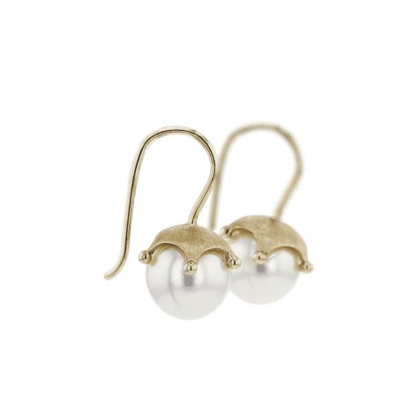 Gold Crown Pearl Earrings by Scarab Jewellery Studio