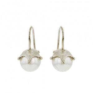 White Gold Crown Pearl Earrings by Scarab Jewellery Studio