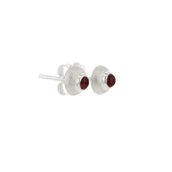 Small Silver Dome Garnet Cabouchon Earrings - beetle by Scarab Jewellery Studio