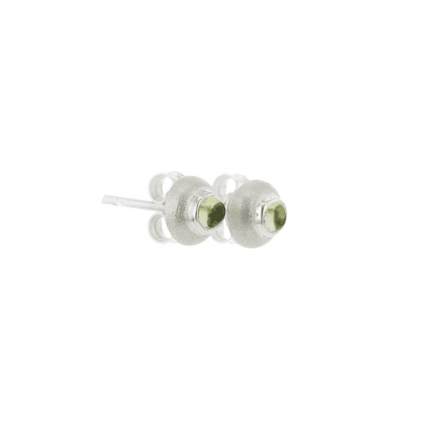 Small Silver Dome Peridot Cabouchon Earrings - beetle by Scarab Jewellery Studio