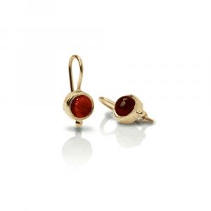 Gold Garnet Drop Earrings by Scarab Jewellery Studio