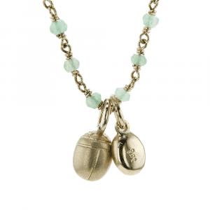gold scarab green tourmaline chrysoprase pendant by Scarab Jewellery Studio
