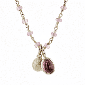 Gold Scarab Pale Pink Tourmaline Pendant by Scarab Jewellery Studio
