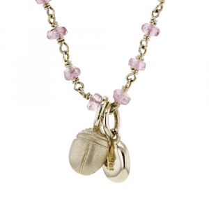 Gold Scarab Pale Pink Tourmaline Pendant by Scarab Jewellery Studio