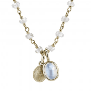 gold scarab moonstone zircon pendant by Scarab Jewellery Studio
