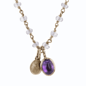 Gold Scarab Amethyst Sapphire Pendant by Scarab Jewellery Studio
