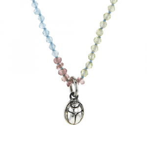 Silver Scarab Charm Gemstone Necklace by Scarab Jewellery Studio