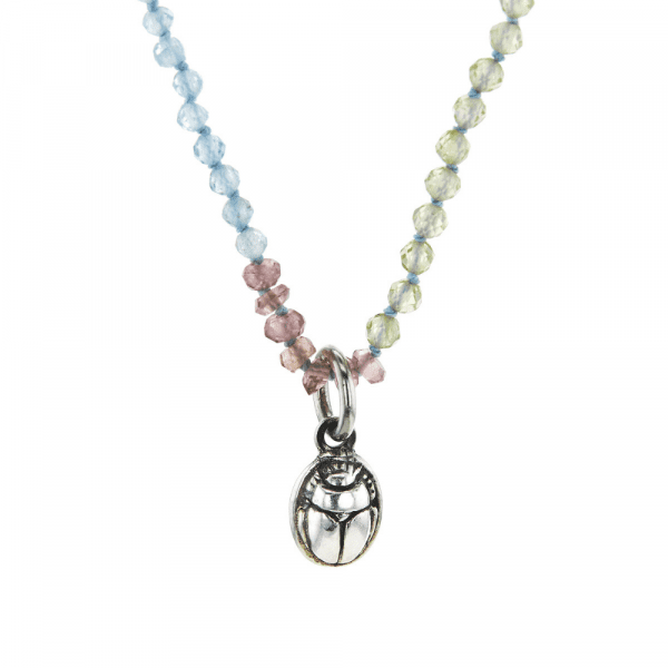 Silver Scarab Charm Gemstone Necklace by Scarab Jewellery Studio
