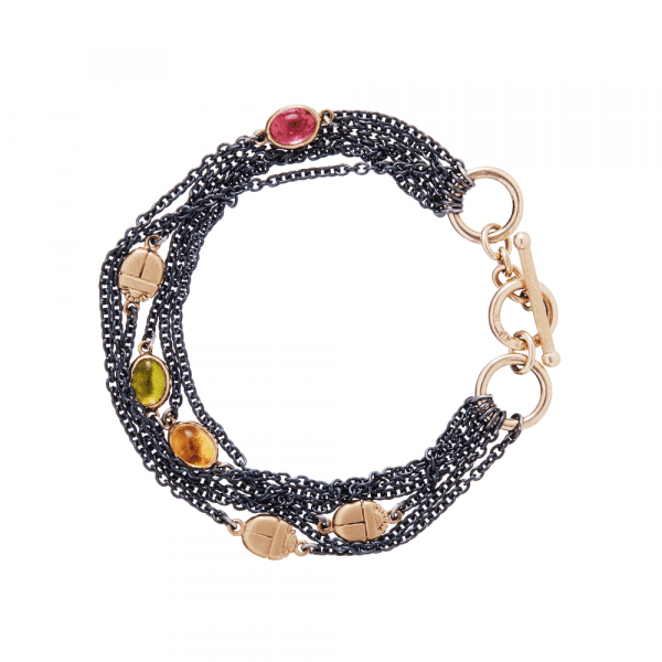 Six Strand Blackened Silver Gemstone Bracelet by Scarab Jewellery Studio