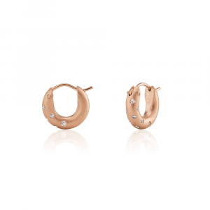 Huggie Diamond Earrings Rose Gold by Scarab Jewellery Studio