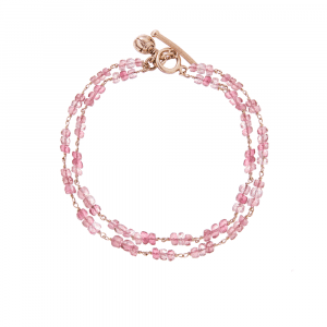 Pink Tourmaline Two Strand Gemstone Bracelet by Scarab Jewellery Studio