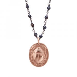 Black Pearl Gold Rune Scarab Pendant by Scarab Jewellery Studio