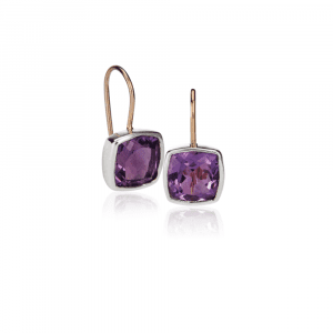 Silver Gold Amethyst Boxy Earrings by Scarab Jewellery Studio