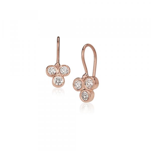Three Stone Grape Earrings Diamonds by Scarab Jewellery Studio