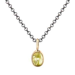 Red Gold Scarab Peridot Pendant by Scarab Jewellery Studio