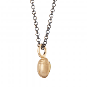 Red Gold Scarab Peridot Pendant by Scarab Jewellery Studio